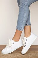 Pembe Potin Kadın Beyaz Keten Ayakkabı