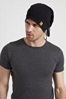 Butikgiz Erkek Siyah, Ip Detaylı Özel Tasarım 4 Mevsim Şapka Bere Buff -ultra Yumuşak Doğal Penye Kumaş
