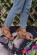 Limoya Kadın Leopar Bilekten Bağlamalı Şeffaf Bantlı Hasır Topuklu Dolgu Sandalet