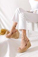Limoya Kadın Nude Rengi Kroko Bilekten Bağlamalı Dolgu Topuk Sandalet