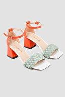 Limoya Nuvo (HAKİKİ DERİ ASTAR) Oranj Yeşil Örgülü Alçak Topuklu Sandalet