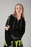 Mizalle Baskılı Siyah Sweatshirt