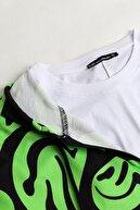 Sekizbiraltı Yeşil Smile Dijital Baskı Fermuarlı Unisex Sweatshirt
