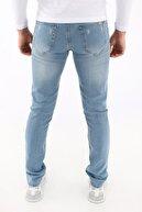 Arlin Erkek Slimfit Taşlamalı Yırtık Desenli A.mavi Jean Pantolon