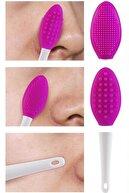 Lusso Cosmetics Cilt Temizleme Fırçası + Burun Siyah Nokta Temizleyici Dudak Peeling Fırça- Koyu Pembe