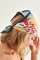 Y-London 13750 Lacivert Kenarlıklı Renkli Bandana Fular