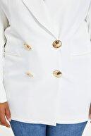 TRENDYOLMİLLA Ekru Oversize Kruvaze Blazer Ceket TWOSS20CE0193