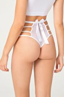Cottonhill Beyaz Transparan Lastik Detaylı Fiyonklu Kadın Bikini Külot