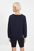 TRENDYOLMİLLA Siyah Reglan Kol Basic Örme Sweatshirt TWOAW20SW0055
