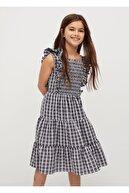 Mango Kız Çocuk Fırfırlı Kareli Elbise