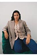 Mango Kadın Kahverengi Anvelop Kesim Kareli Takım Ceket