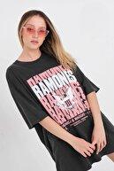 Addax Baskılı Oversize T-shirt P9569 - D8