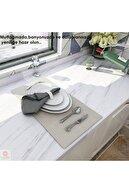 TechnoSmart Beyaz Mermer Desenli Mutfak Tezgah Üstü Folyo Kaplama 60cmx500cm