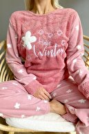 Pijamaevi Pembe Hello Winter Desenli Kadın Peluş Pijama Takımı