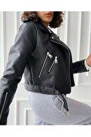 Haziran Kadın Siyah Fermuar Detaylı Deri Ceket