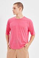 TRENDYOL MAN Fuşya Basic Erkek Bisiklet Yaka Oversize Kısa Kollu T-Shirt TMNSS21TS0811
