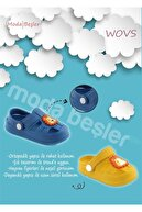 WOVS Unisex Çocuk Lacivert Günlük Ortopedik Kaydırmaz Tabanlı Hayvan Figürlü Sandalet Terlik