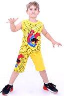 Cansın Mini Erkek Çocuk Sarı Örümcek Baskı 2-9 Yaş Şortlu Takım 4042-1