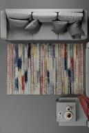 KuleliStore Renkli Çizgili Kaymaz Taban Dekoratif Baskılı Halı Kilim Deri Taban Modern Vintage Kaydırmaz Halı