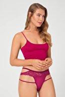 Cottonhill Kadın Vişne Transparan Dantel ve İp Detaylı Bikini Külot