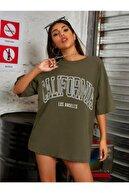 Millionaire Kadın Haki Oversize California Los Angeles Baskılı T-shirt