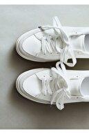 Mango Kadın Beyaz Bağcıklı Basic Spor Ayakkabı