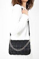 Gez çanta Kadın Siyah Kare Desenli Romeo Touch Soft Pu Deri Metalik Zincir Aksesuarlı Omuz Çantası
