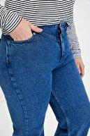 TRENDYOLMİLLA Koyu Mavi Bel Detaylı Yüksek Bel 90's Wide Leg Jeans TWOSS21JE0385