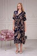 mor butik Kadın Lacivert V Yaka Beli Büzgülü Viskon Salaş Elbise Daisy01020121