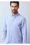 Ramsey Erkek Mavi Düz Dokuma Uzun Kollu Gömlek