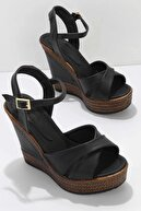 Bambi Siyah Kadın Dolgu Topuklu Ayakkabı K05931070909
