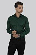 Etikmen Kına Yeşili Kare Düğmeli Slimfit Gömlek