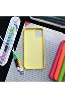 SUPPO Iphone 11 Model, Logolu Lansman Kılıf Ve Kablo Koruyucu Makaron
