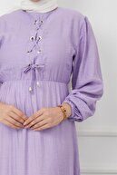 Olcay Önü Bağcık Detaylı Beli Ve Robası Büzgülü Elbise Lila 4037-e
