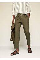 Mango Erkek Haki Renk Relaxed Keten Pantolon