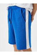 Koton Erkek Mavi Cepli Şeritli Belden Bağlamalı Pamuklu Şort