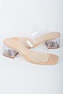 Papuckurdu Kadın  Nude Şeffaf Bantlı Topuklu Ayakkabı