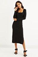 Cool & Sexy Kadın Siyah Kare Yaka Çift Yırtmaçlı Midi Elbise Yİ2360
