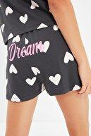 TRENDYOLMİLLA Siyah Kalp Desenli Örme Pijama Takımı THMSS21PT1475