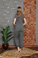Stil Moda Kadın Antrasit Pamuklu Baskılı Kısa Kol Pijama Takım