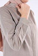 ALLDAY Toprak Gizli Patlı Basic Gömlek Tunik