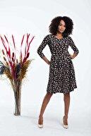Mossta Kadın Siyah Cepli Midi Boy Krep Elbise
