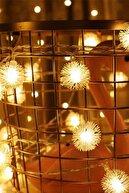 Patladı Gitti Led Işıklı Ponpon Kar Tanesi Dizeleri 28'li 4,5 Metre Dekoratif Süsleme Ev Dekorasyonu