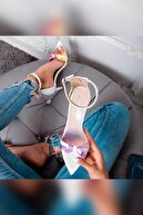 Limoya Alaya Beyaz Şeffaf Pudra Hologram Detaylı Ince Topuklu Sandalet Sivri Burunlu
