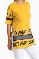 Mossta Kadın Sarı File Detaylı Uzun T-shirt