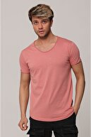 Tarz Cool Erkek Pudra Pis Yaka Salaş T-shirt