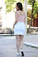 Mossta Kadın Kuşaklı Yırtmaçlı Etek Beyaz