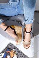 Limoya Kadın Haki Lacivert Ten Süet Kemerli Dolgu Taban Sandalet