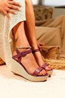Limoya Kadın Mor Elisa Cilt Gerçek Hasır Dolgu Topuklu Sandalet