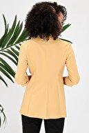 Jument Kapri Truvakar Kol Süs Cepli Kopçalı Ofis Blazer Kumaş Ceket-sarı